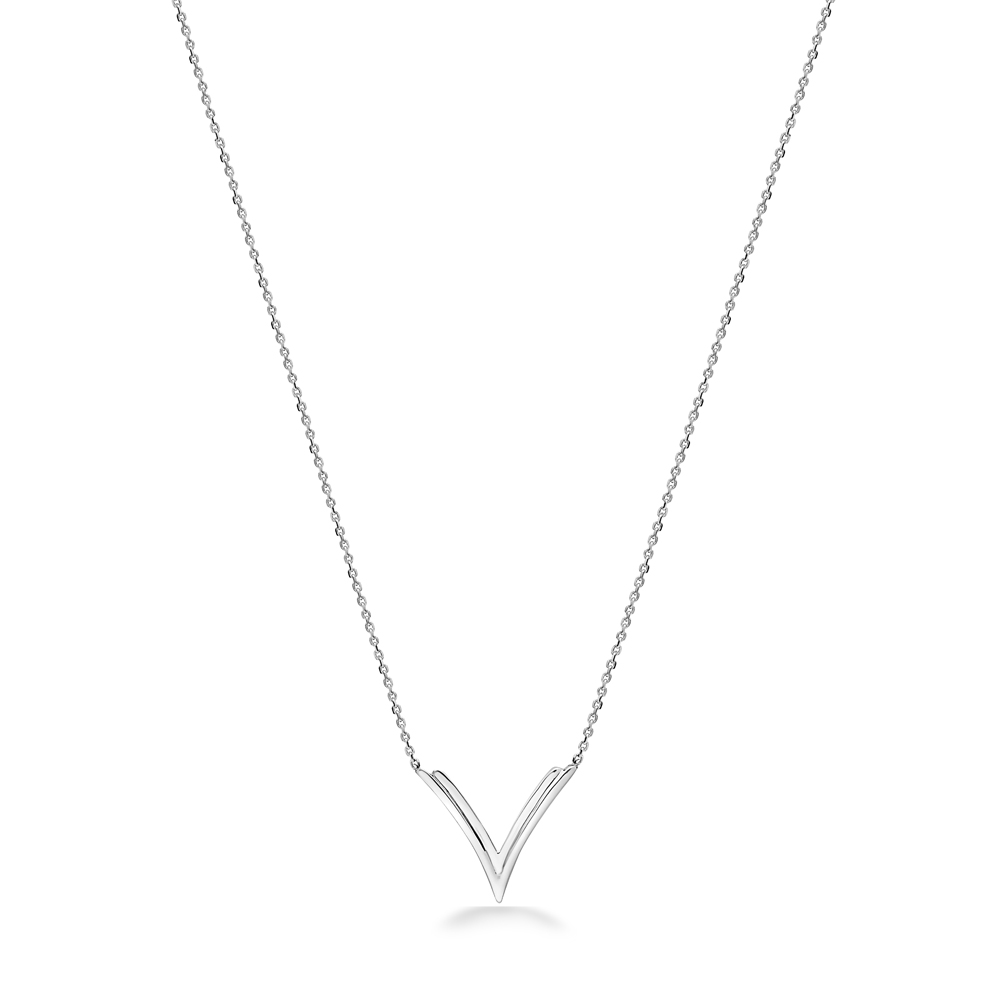 Charles Krypell Sterling Silver Double V Necklace