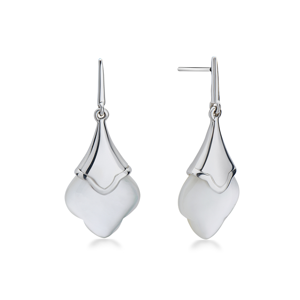 Charles Krypell Sterling Silver Scalloped White Mother of Pearl Dangle Earrings