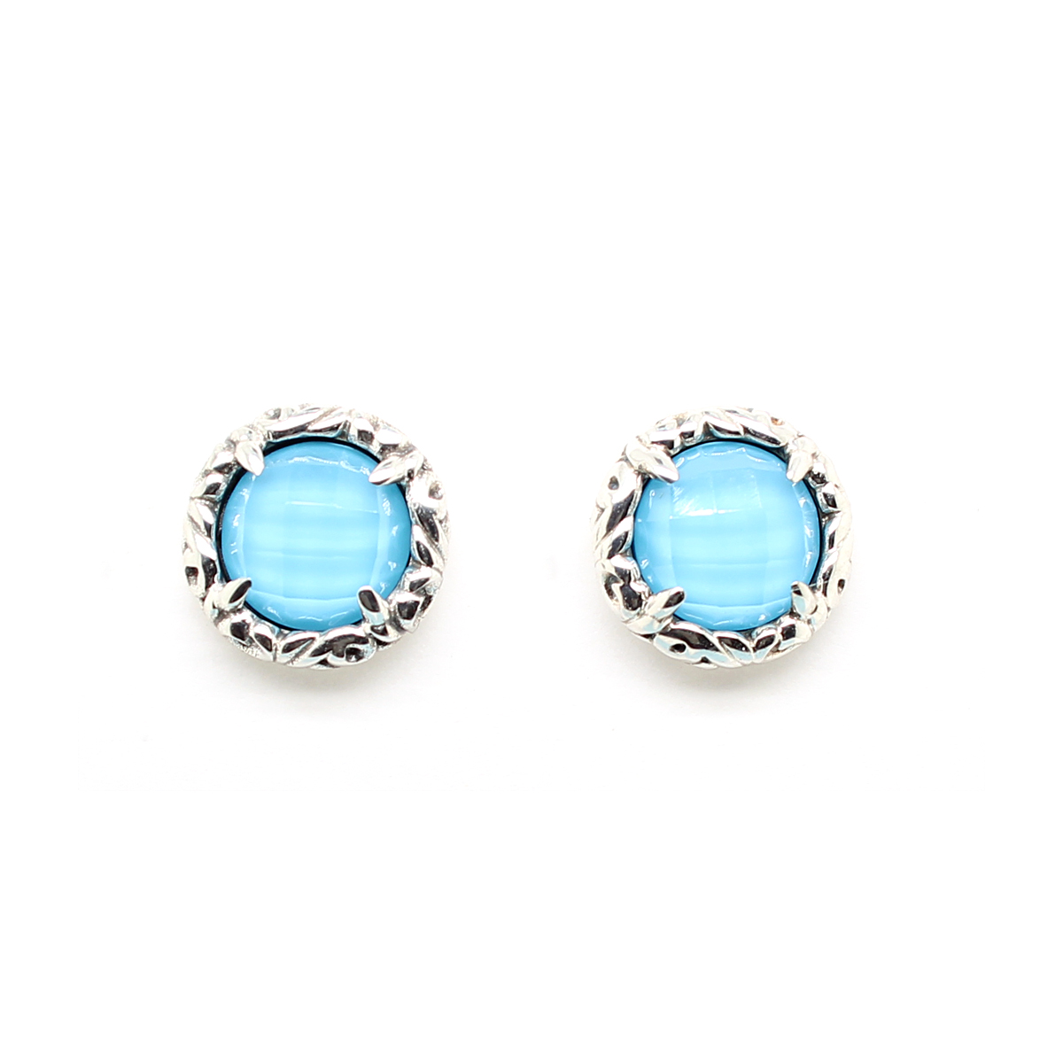 Charles Krypell Sterling Silver Turquoise and White Quartz Stud Earrings