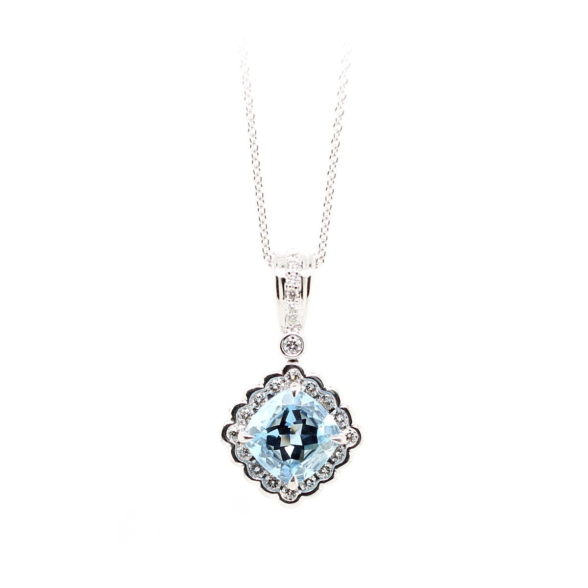 Charles Krypell 18 Karat White Gold Aquamarine and Diamond Pendant Necklace