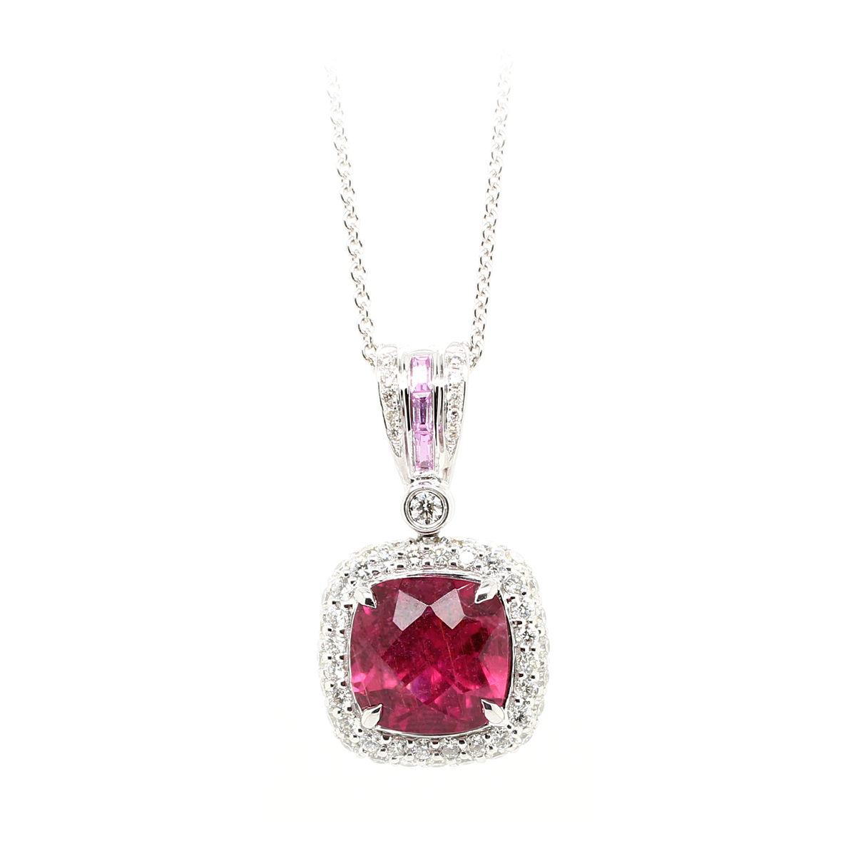 Charles Krypell 18 Karat White Gold Rubellite, Pink Sapphire, and Diamond Pendant Necklace