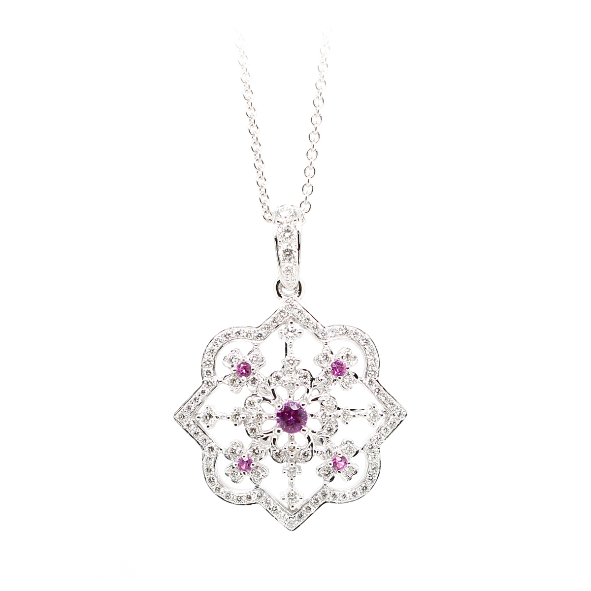 Charles Krypell 18 Karat White Gold Diamond & Pink Sapphire Pendant Necklace