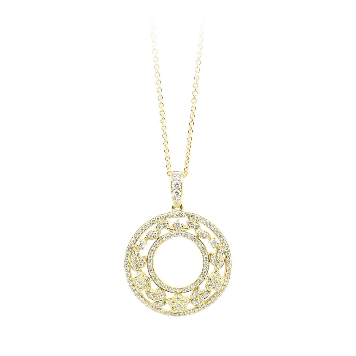Charles Krypell 18 Karat Yellow Gold Cutout Circle Diamond Pendant Necklace
