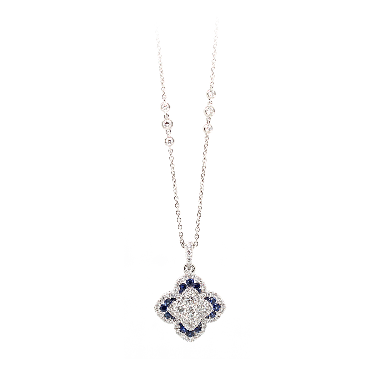Charles Krypell 18 Karat White Gold Diamond and Blue Sapphire Pendant Necklace