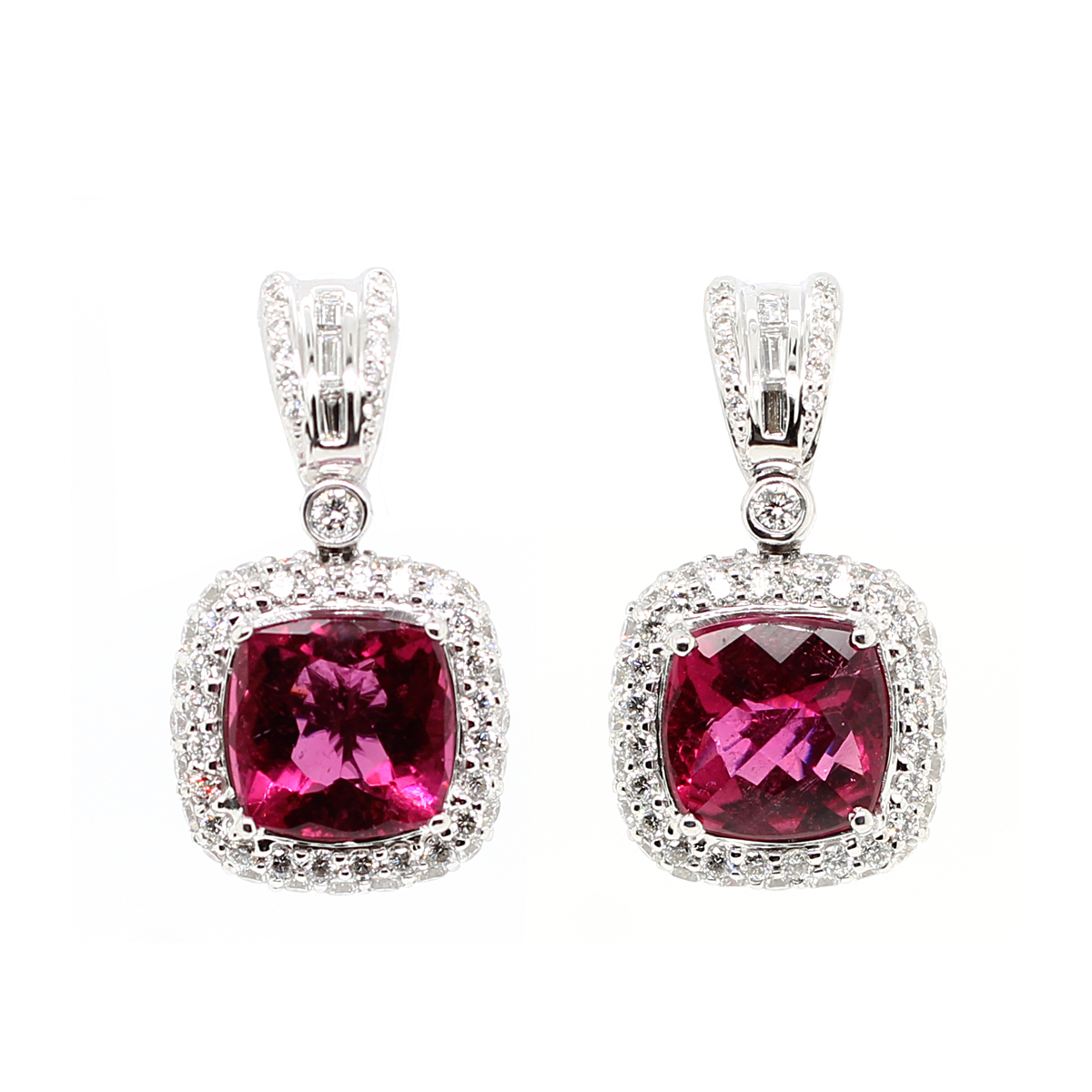 Charles Krypell 18 Karat White Gold Rubellite and Diamond Earrings