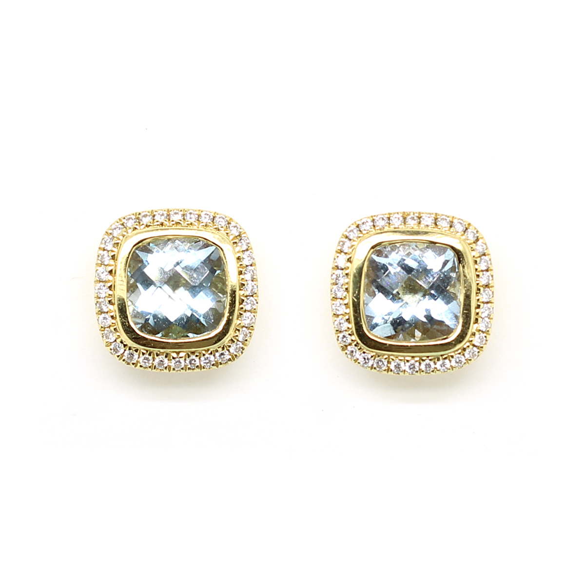 Charles Krypell 18 Karat Yellow Gold Aquamarine and Diamond Earrings