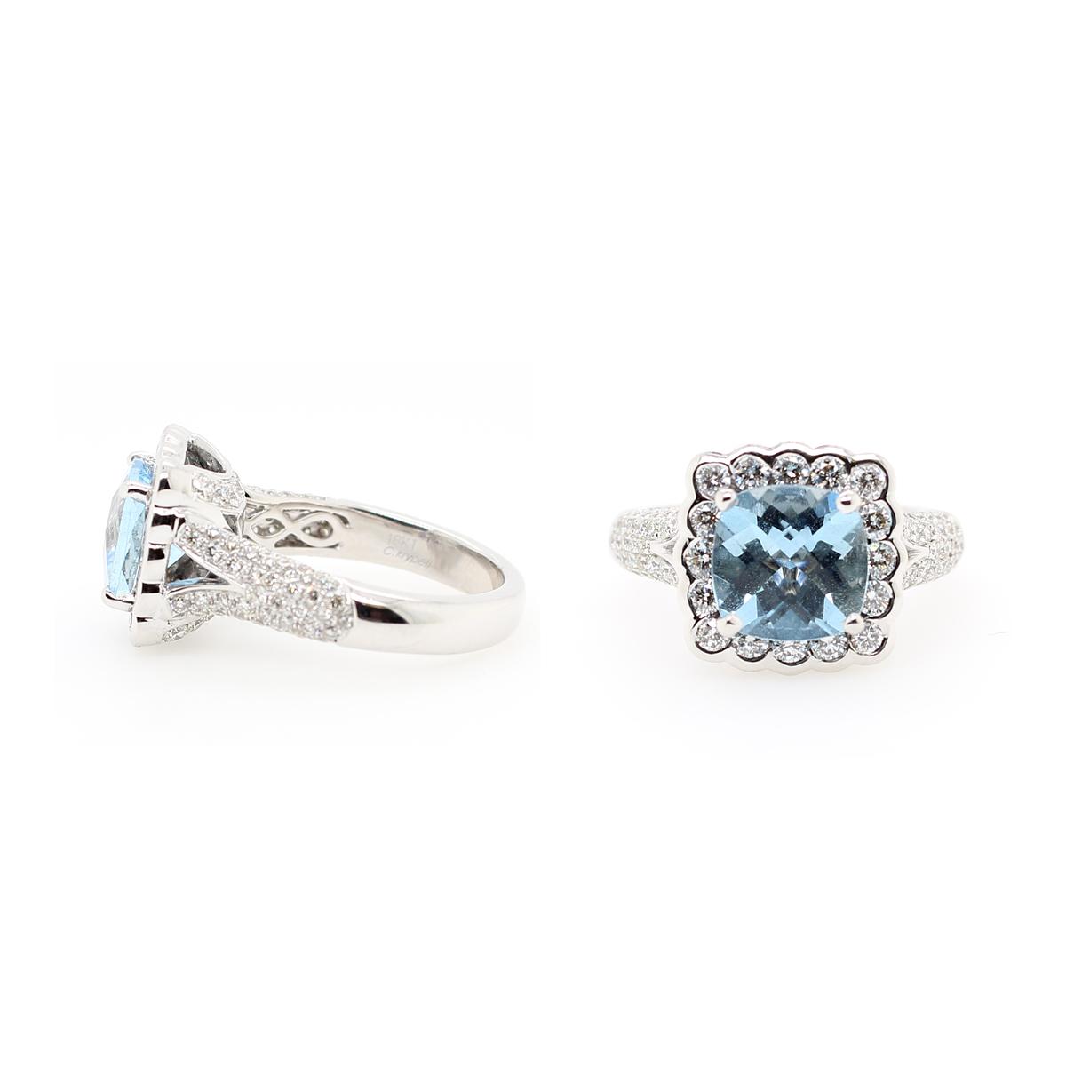 Charles Krypell 18 Karat White Gold Aquamarine and Diamond Ring