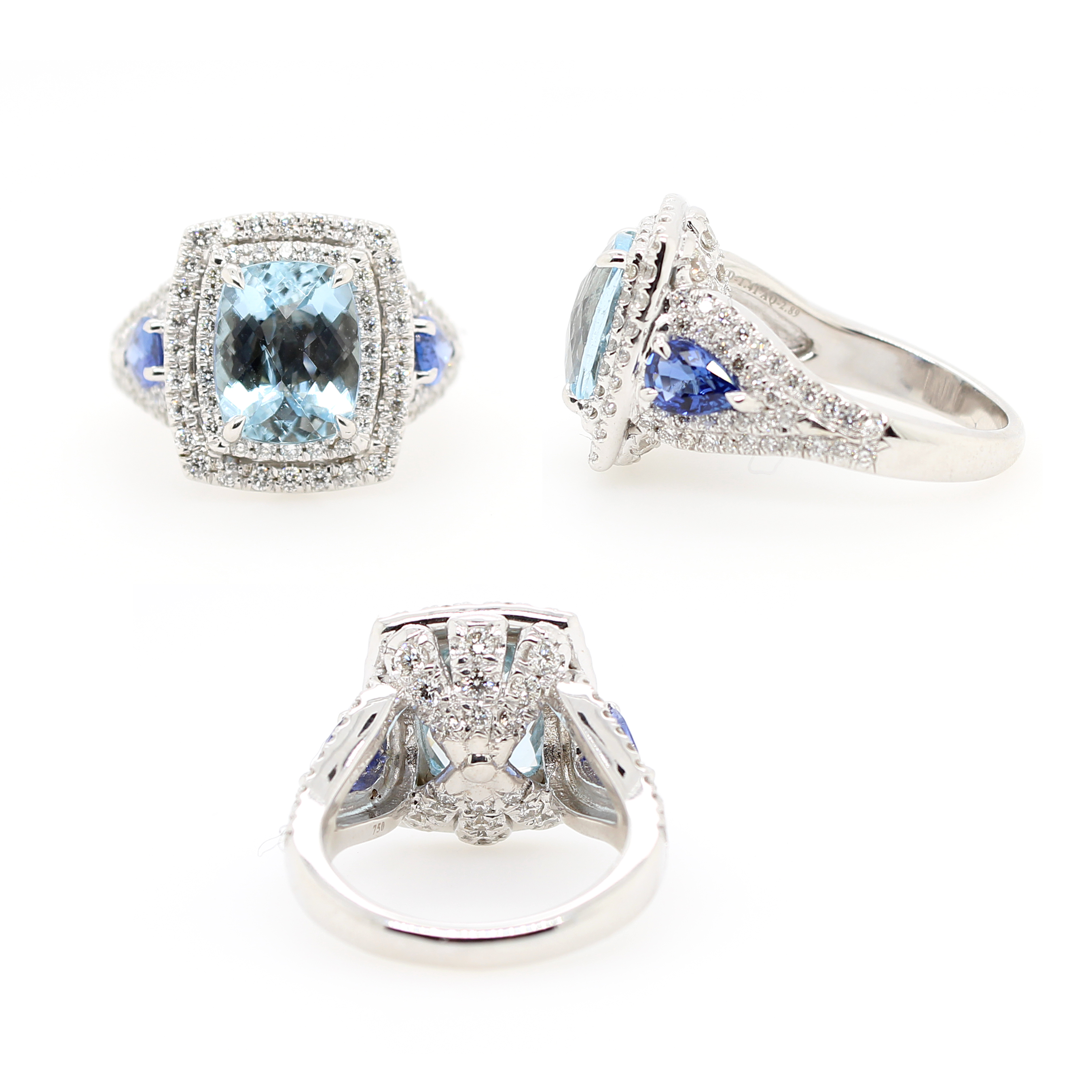 Charles Krypell 18 Karat White Gold Aquamarine, Blue Sapphire and Diamond Ring