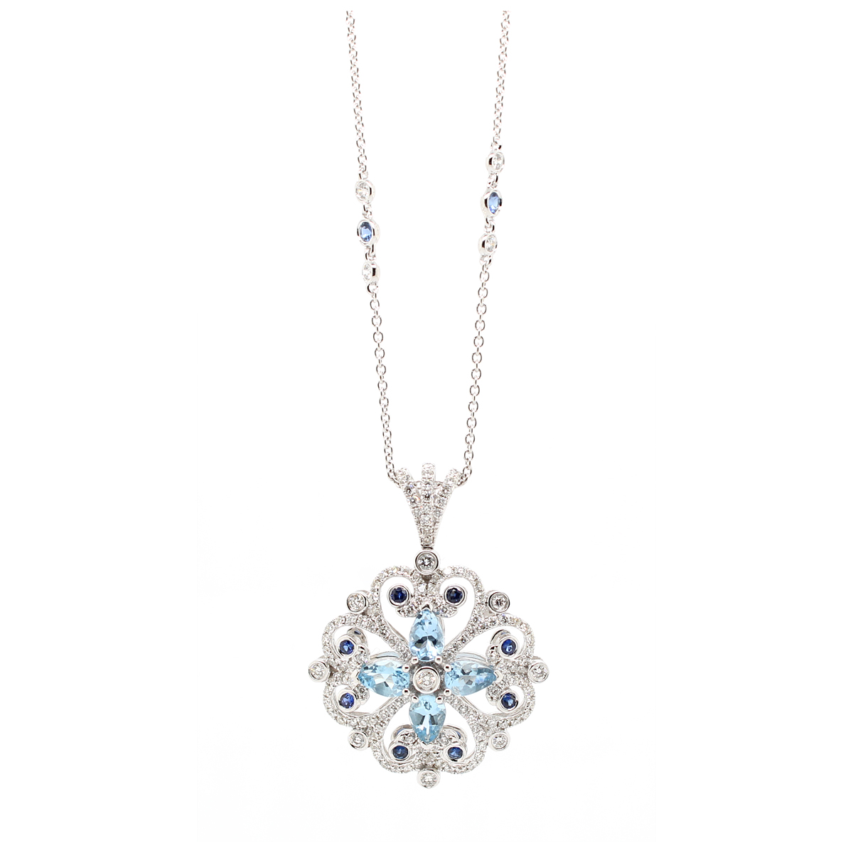 Charles Krypell 18 Karat White Gold Diamond, Aquamarine and Blue Sapphire Pendant Necklace
