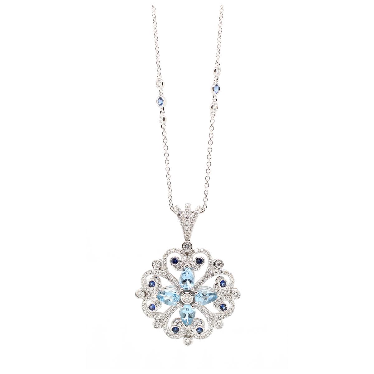 Charles Krypell 18 Karat White Gold Diamond, Aquamarine and Blue Sapphire Pendant Necklace