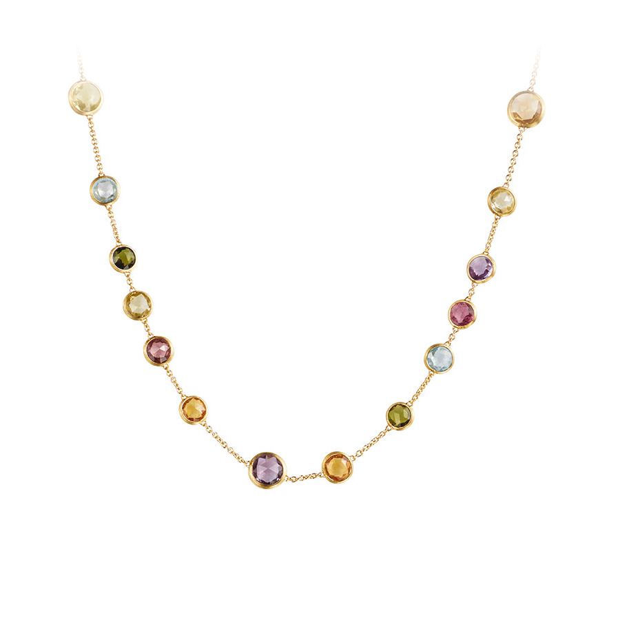 Marco Bicego 18 Karat Yellow Gold Jaipur Multicolor Stone Necklace