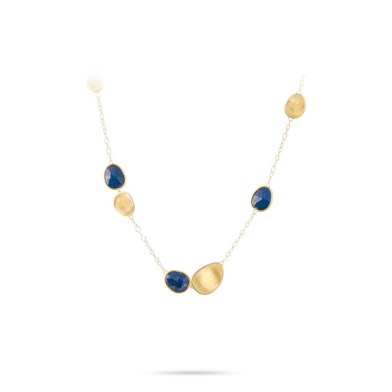 Marco Bicego 18 Karat Yellow Gold Lunaria Lapis Necklace