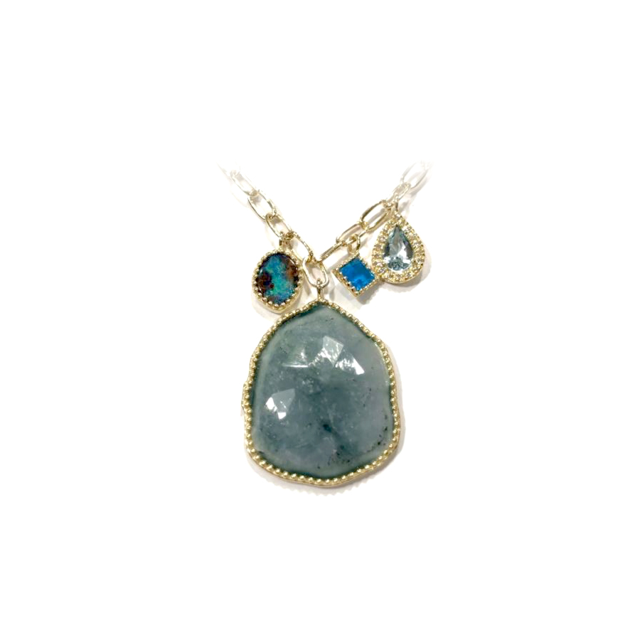Lauren K 18 Karat Yellow Gold Natural Aqua, Opal and Apatite Necklace
