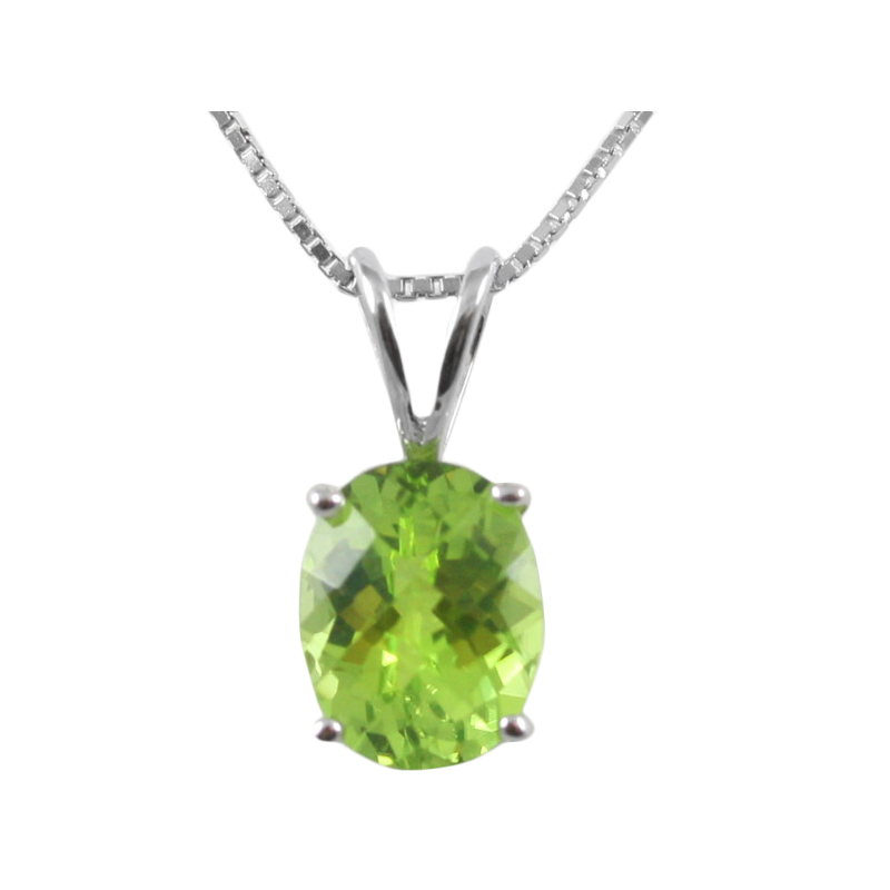 Sterling Silver oval faceted peridot pendant.