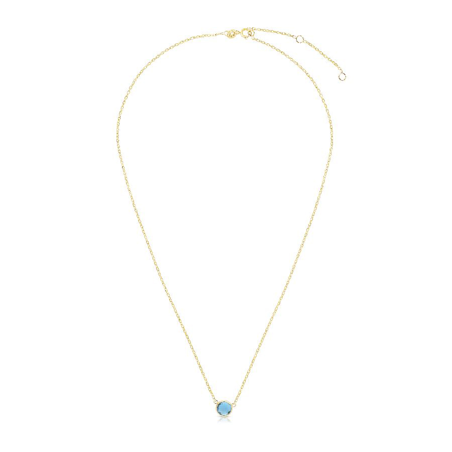 Royal Chain 14 Karat Yellow Gold Blue Topaz Necklace