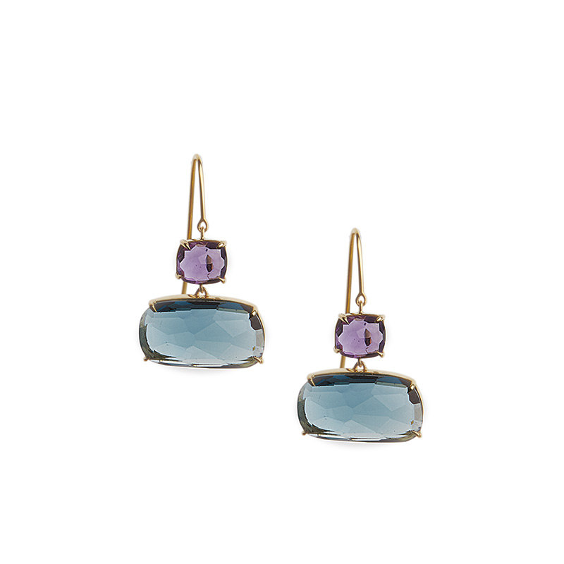 Marco Bicego 18 Karat Yellow Gold Amethyst and Blue Topaz Earrings