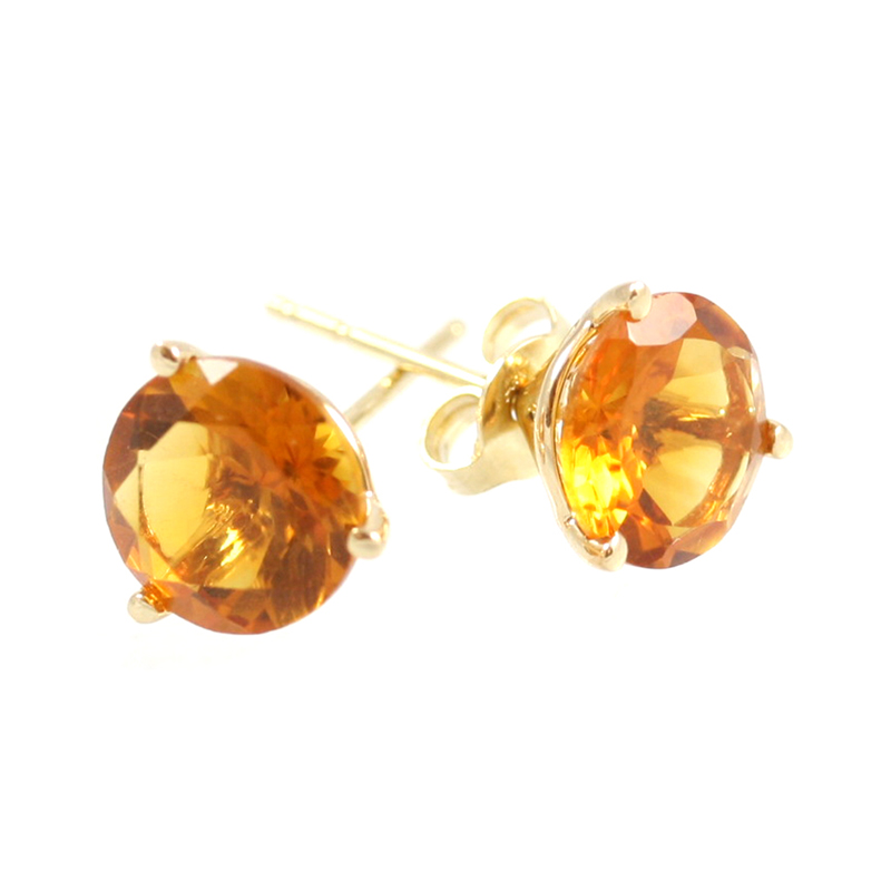 14 Karat yellow gold citrine stud earrings