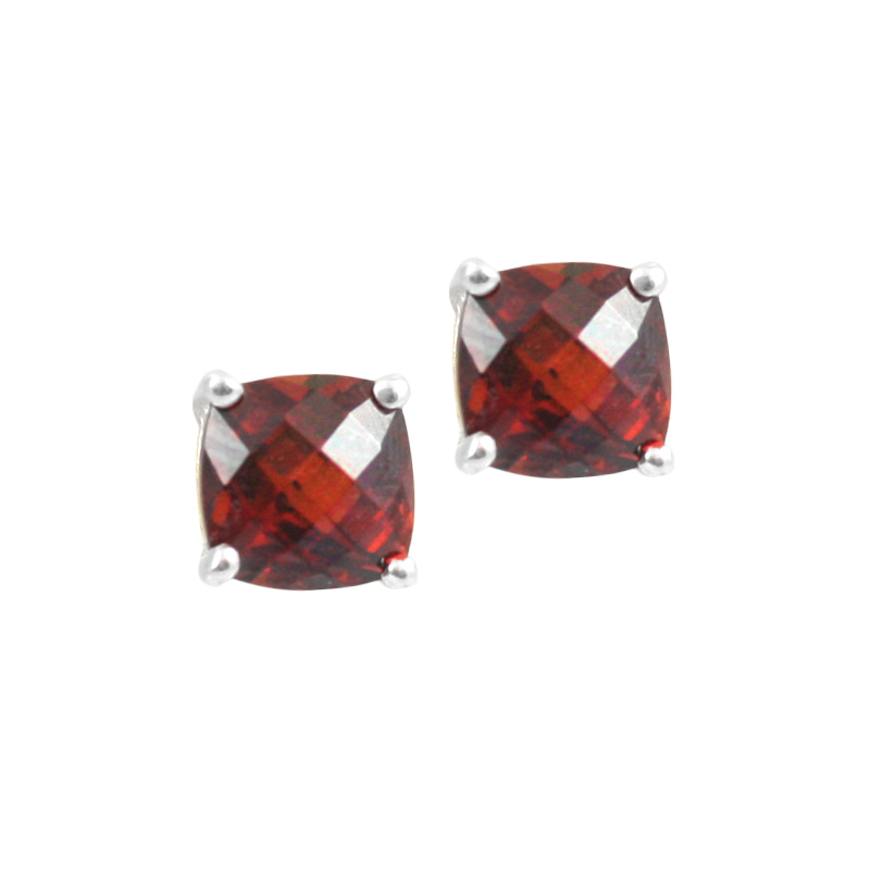 Sterling Silver Garnet Stud Earrings.