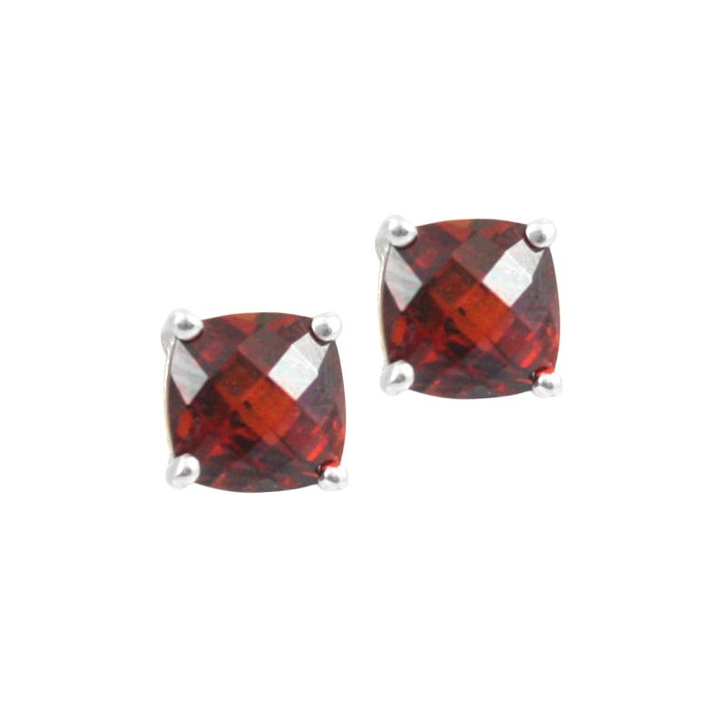 Sterling Silver Garnet Stud Earrings.