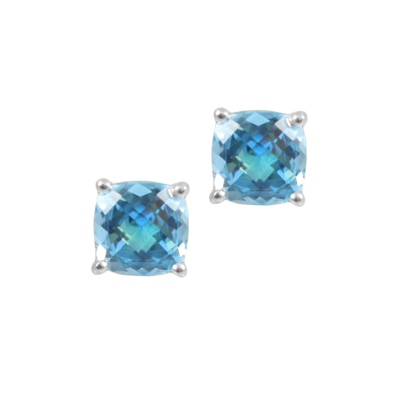 Sterling Silver Blue Topaz Stud Earrings.