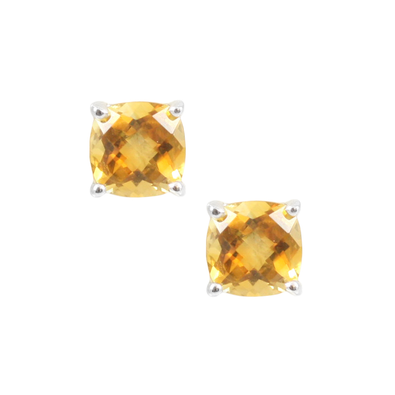 Sterling Silver Citrine Stud Earrings.