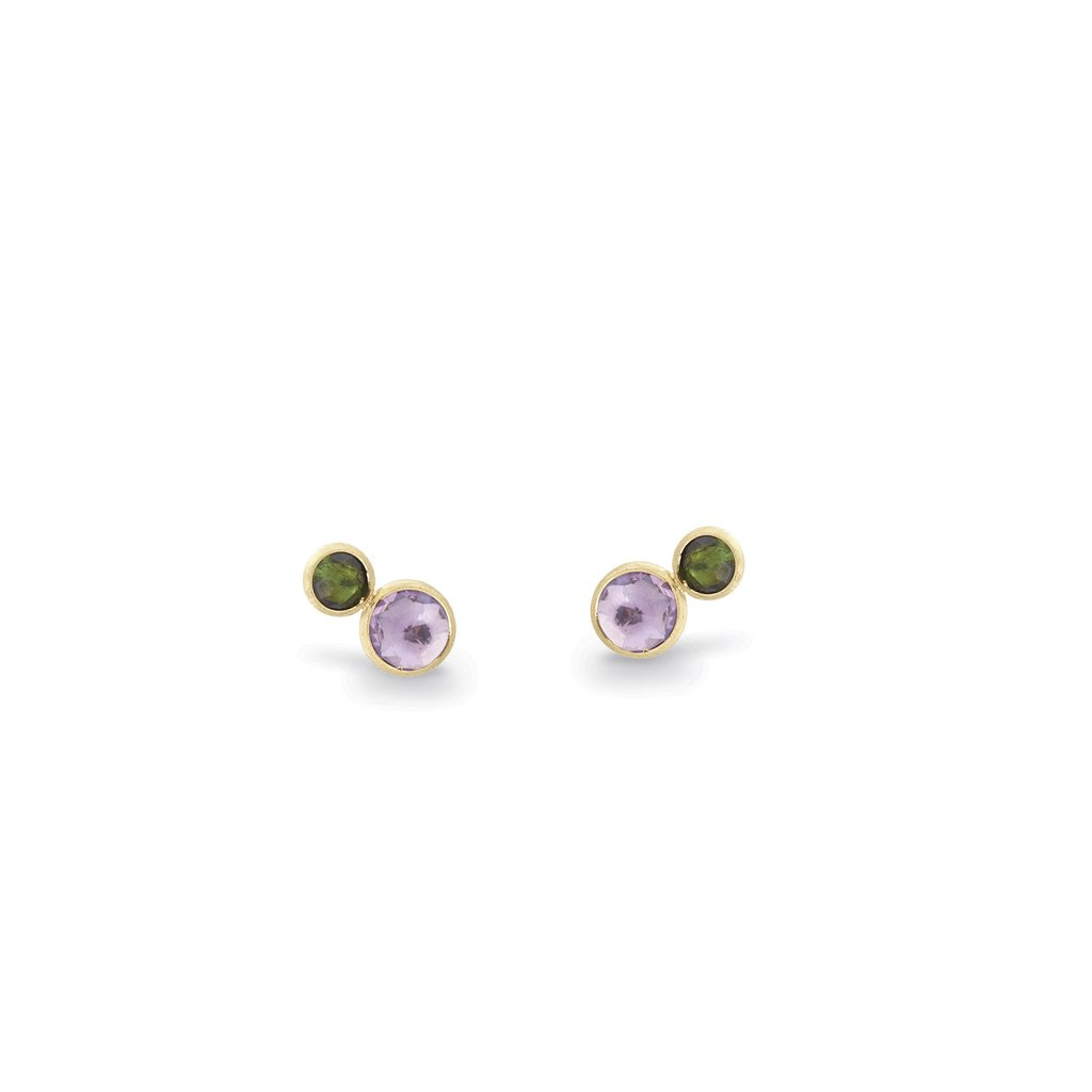 Marco Bicego 18 Karat Yellow Gold Green Tourmaline and Amethyst Stud earrings