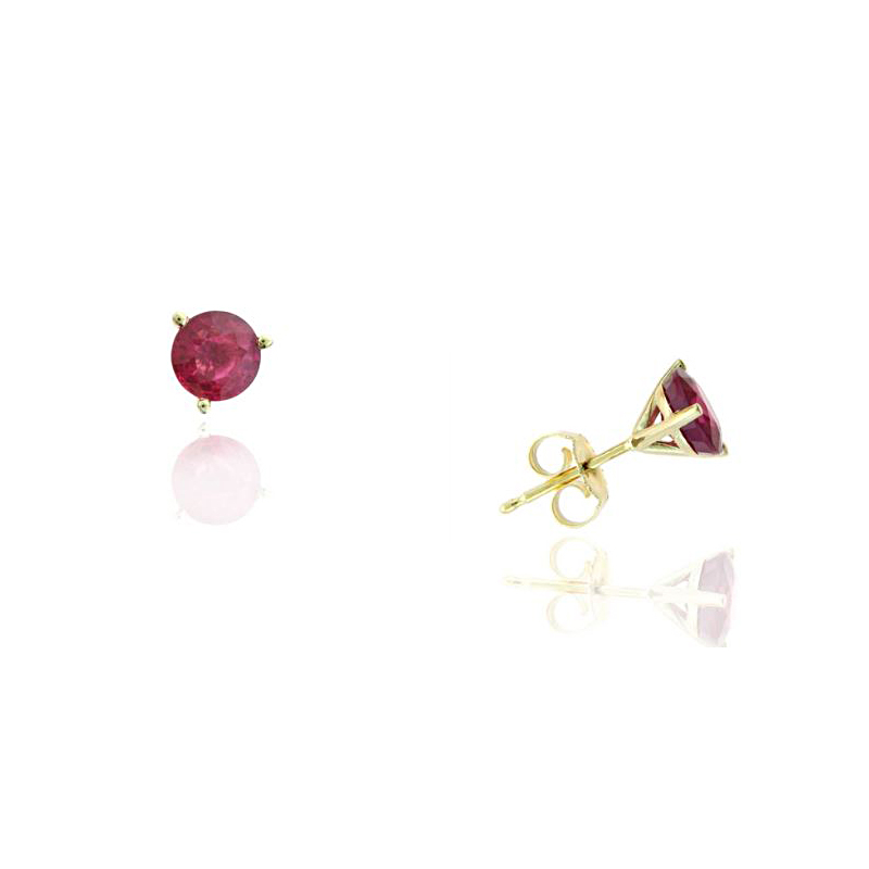 Ryan Gems 14 Karat Yellow Gold Round Ruby Martini Stud Earrings