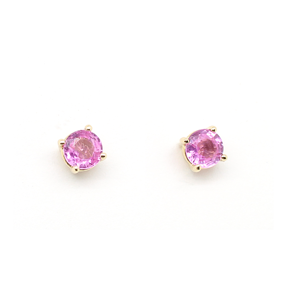 Ryan Gems 14 Karat Yellow Gold Pink Sapphire Stud Earrings