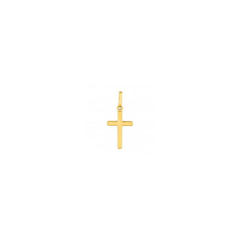 Royal Chain 14 Karat Yellow Gold Square Tube Shiny Cross Charm