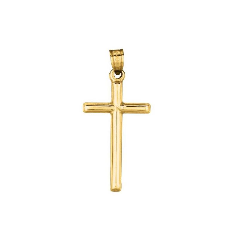 Royal Chain 14 Karat Yellow Gold Small Tubular Cross Charm