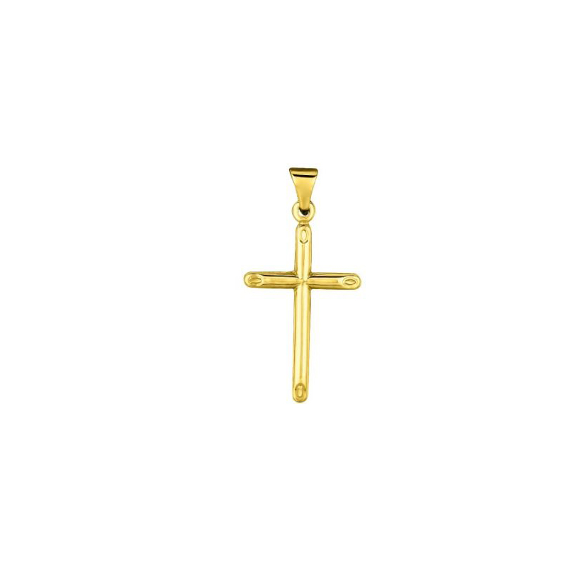 Royal Chain 14 Karat Yellow Gold Tubular Cross Pendant