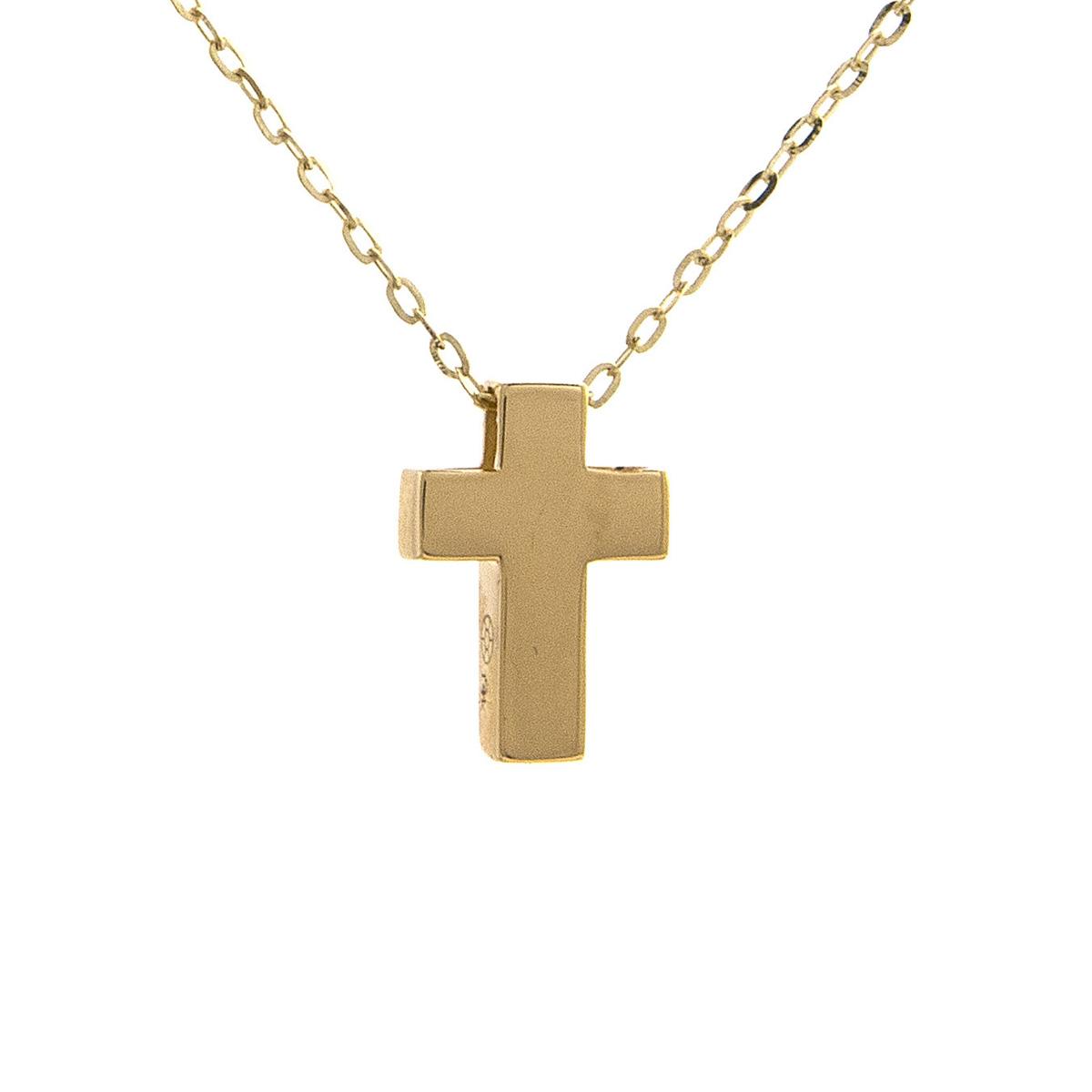 14 Karat Yellow Gold Cross Pendant Necklace