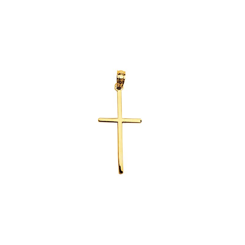 14 Karat Yellow Gold Simple Stick Cross Pendant Necklace