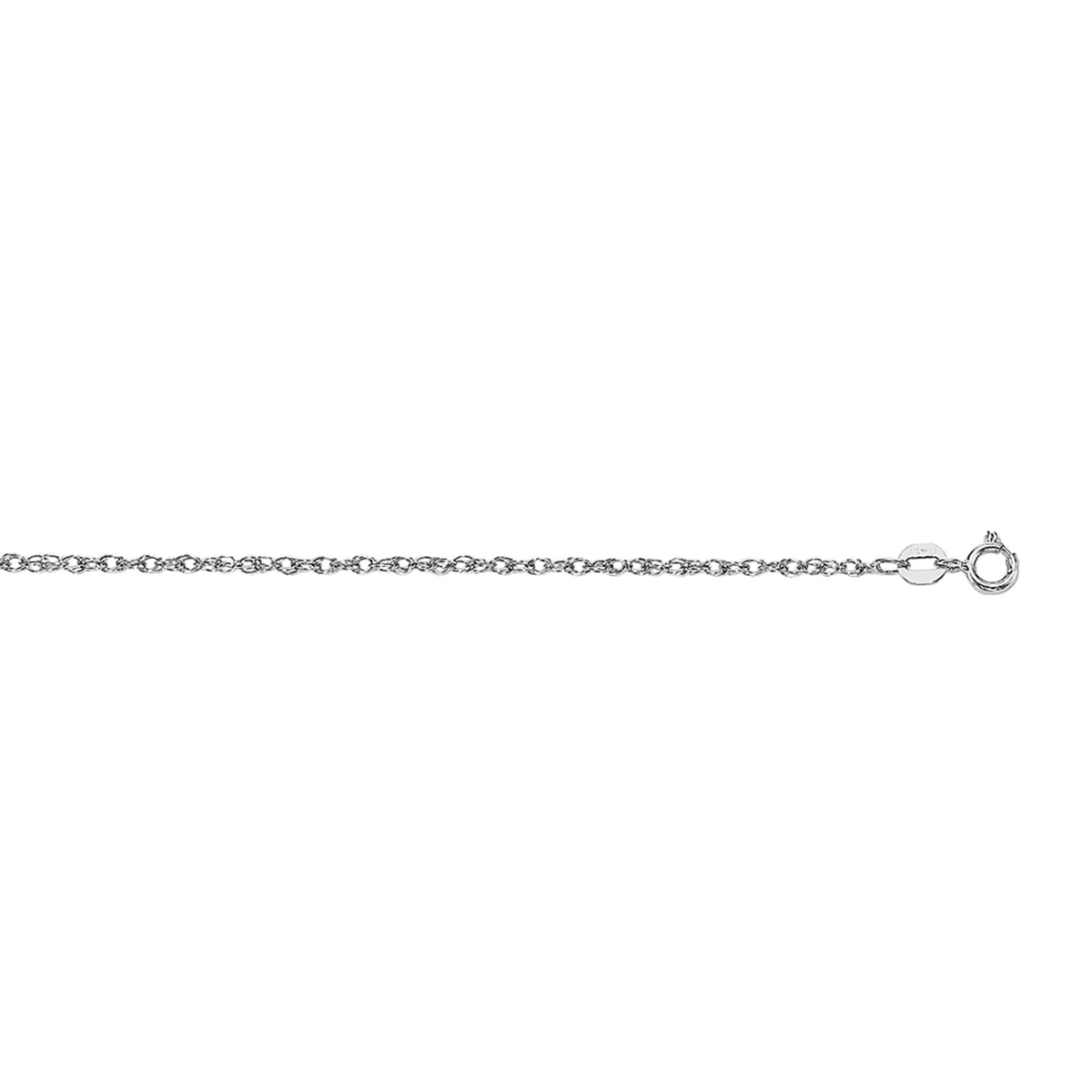 Royal Chain 14 Karat White Gold .75mm Rope Chain On Card