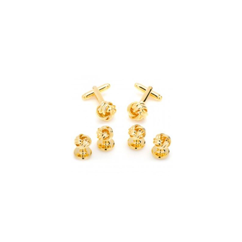 Gold Knot Cufflinks and Four Stud Set