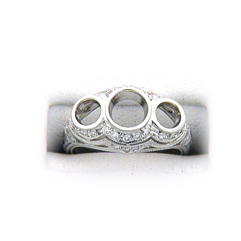 Platinum Antique Reproduction Three Across Diamond Semi-Mount