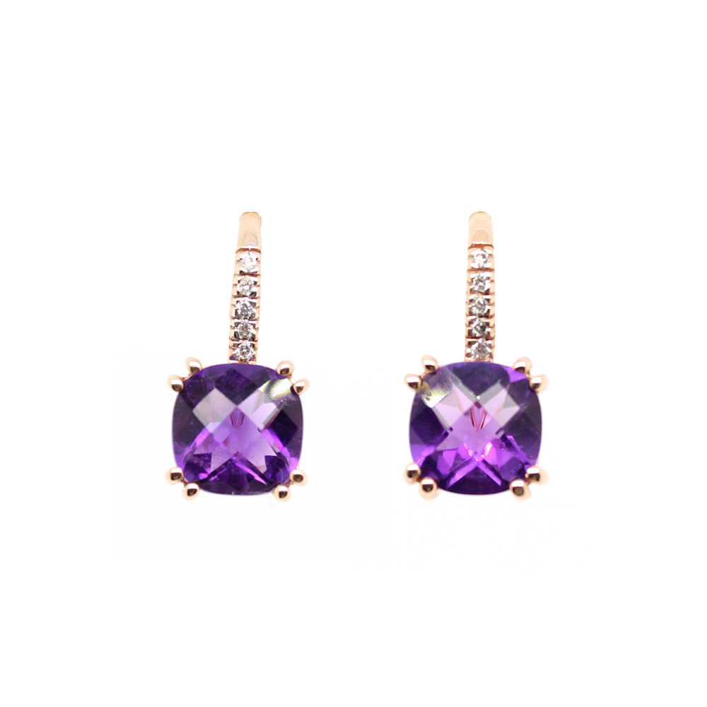 Ryan Gems 14 Karat Rose Gold Amethyst and Diamond Earrings