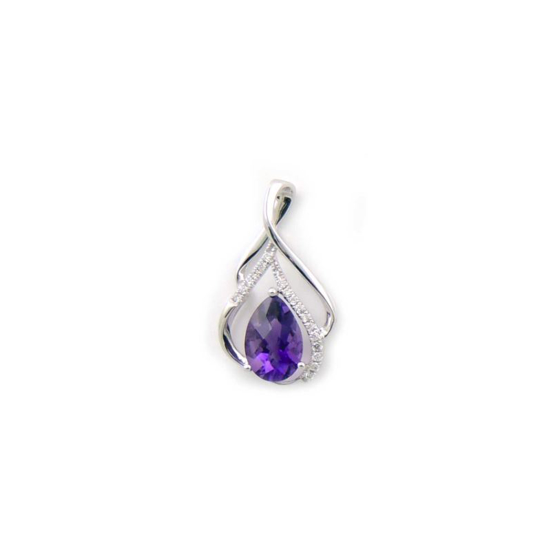 14 Karat White Gold Pear Shaped Amethyst and Diamond Pendant Necklace