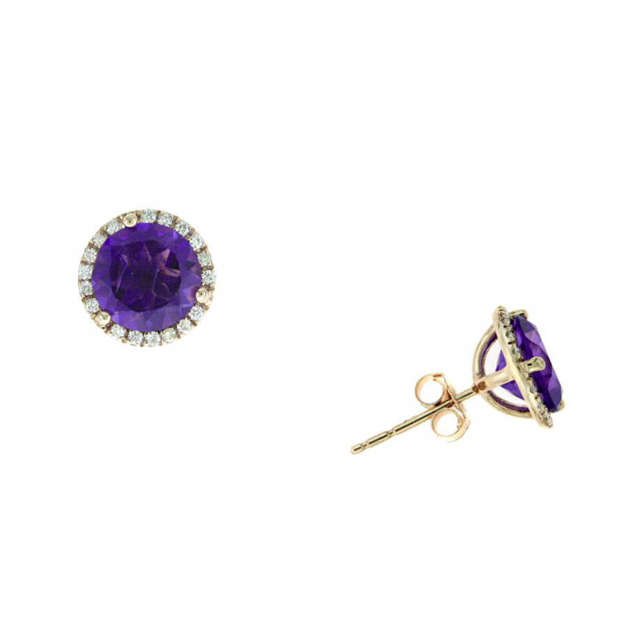 14 Karat Rose Gold Round Amethyst and Diamond Earrings