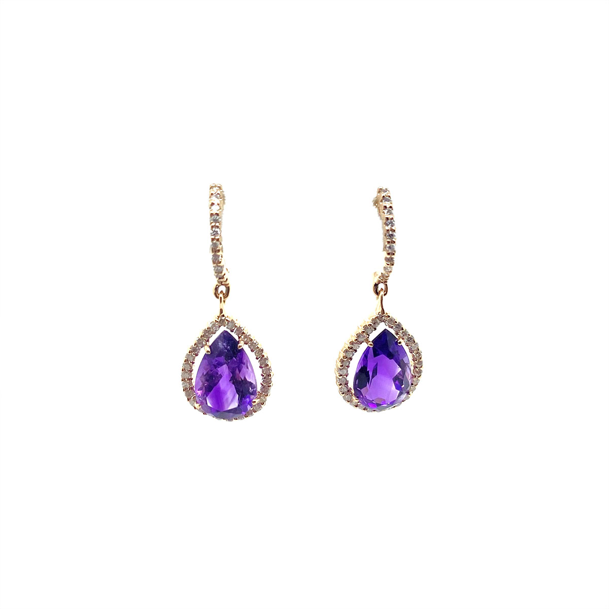 14 Karat Rose Gold Pear Shaped Amethyst and Diamond Huggie Earrings