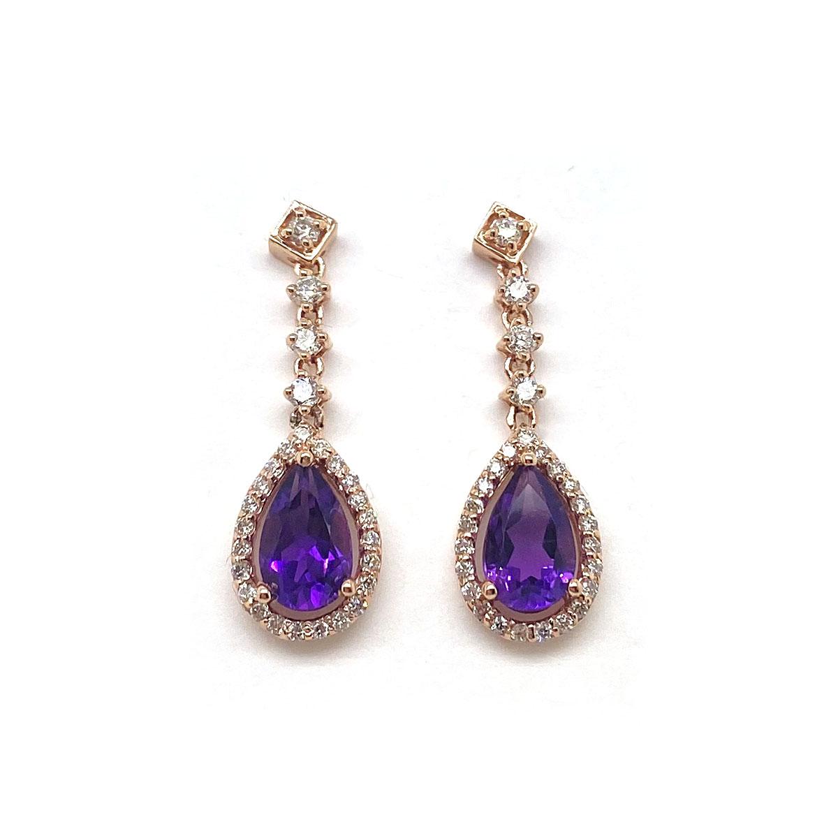 14 Karat Rose Gold Pear Shaped Amethyst and Diamond Dangle Earrings