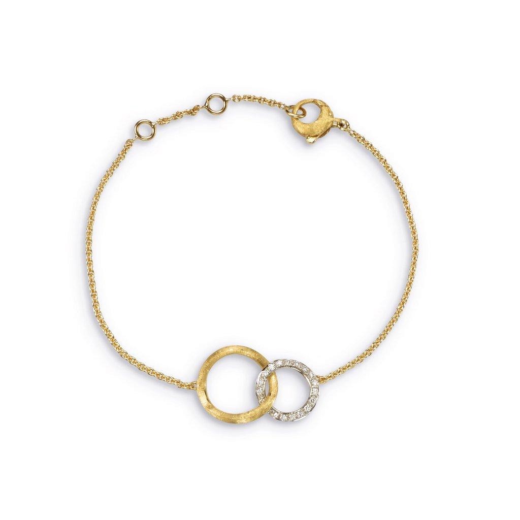 Marco Bicego 18 Karat Yellow Gold Round Textured Diamond Link Bracelet