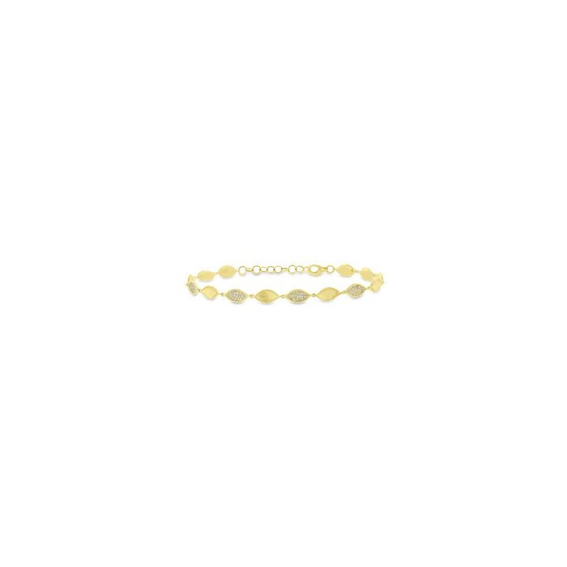 "14 Karat yellow gold, diamond and brushed marquise link bracelet measuring 7"" long with lobster clasp."