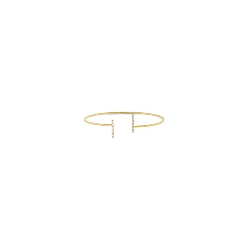 14 Karat yellow gold and diamond cuff bangle bracelet.
