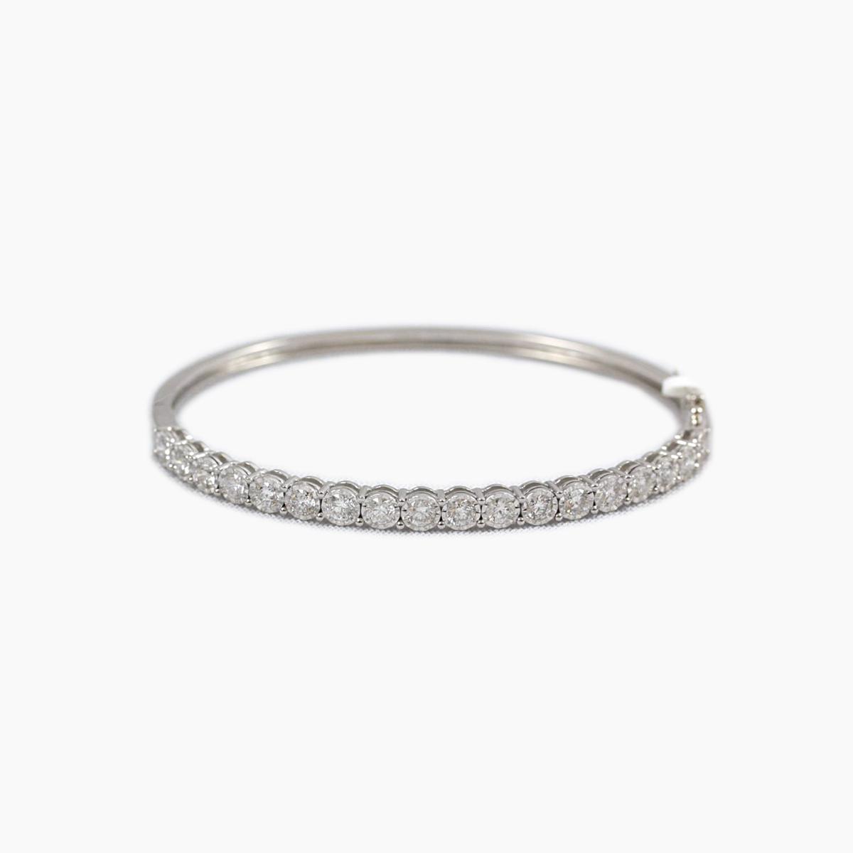 Paramount Gems 14 Karat White Gold Hinged Diamond Bangle Bracelet