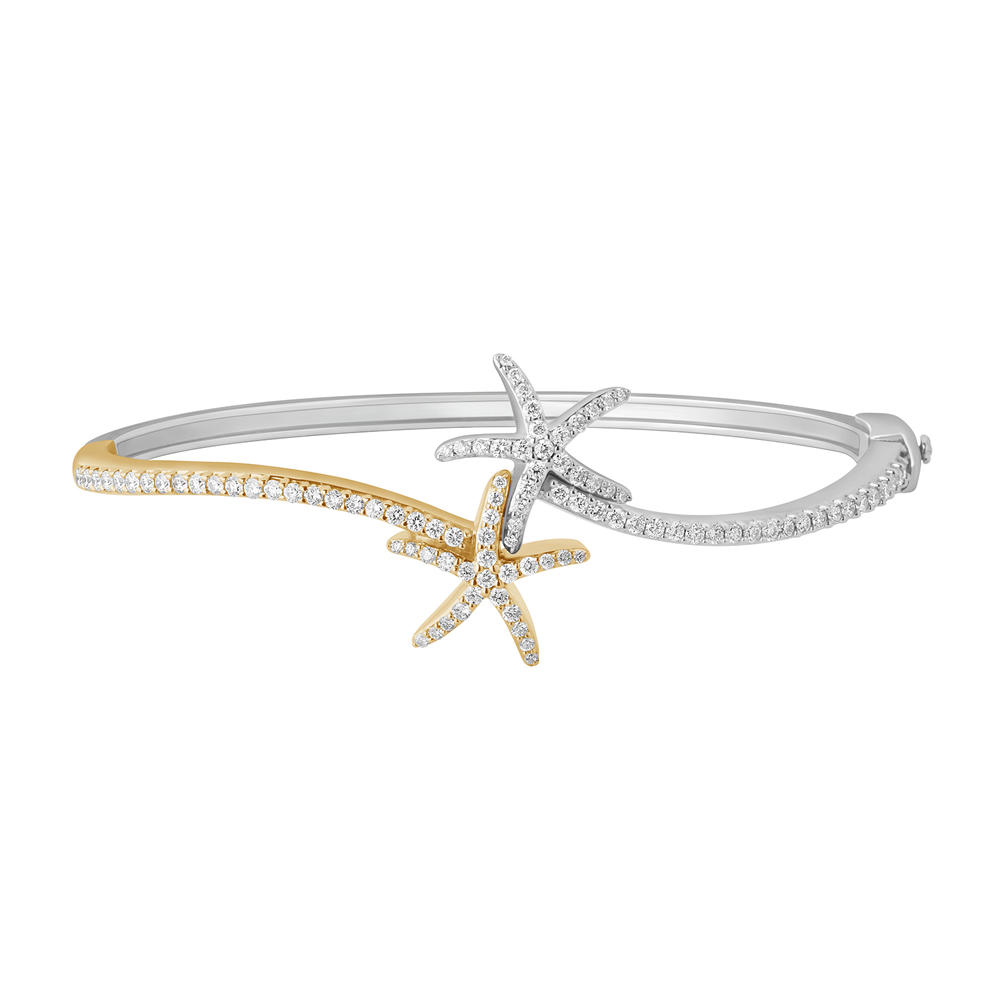 Shefi Diamonds 14 Karat Two Tone Diamond Starfish Bangle Bracelet