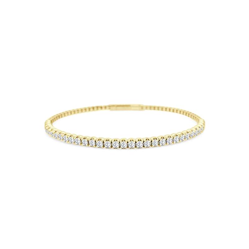 Paramount Gems 14 Karat Yellow Gold Diamond Flexible Bangle Bracelet