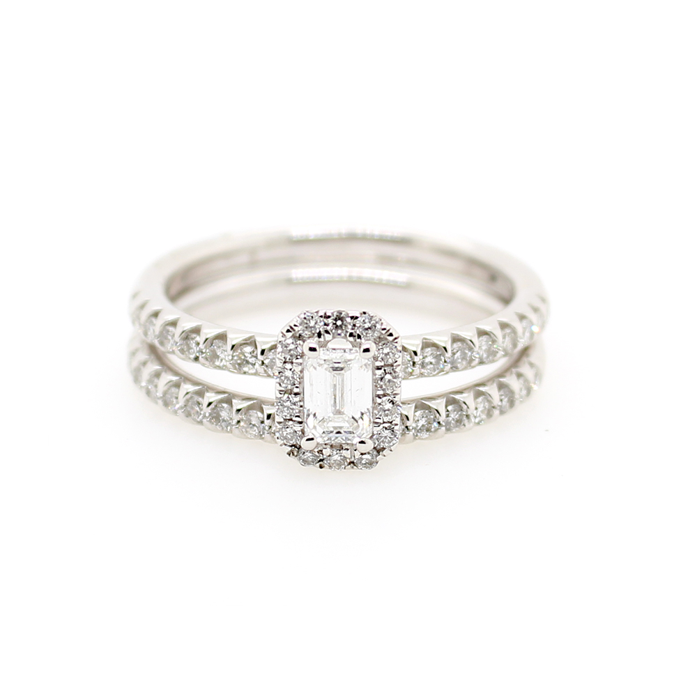Paramount Gems 14 Karat White Gold Emerald and Full Cut Bridal Ring Set