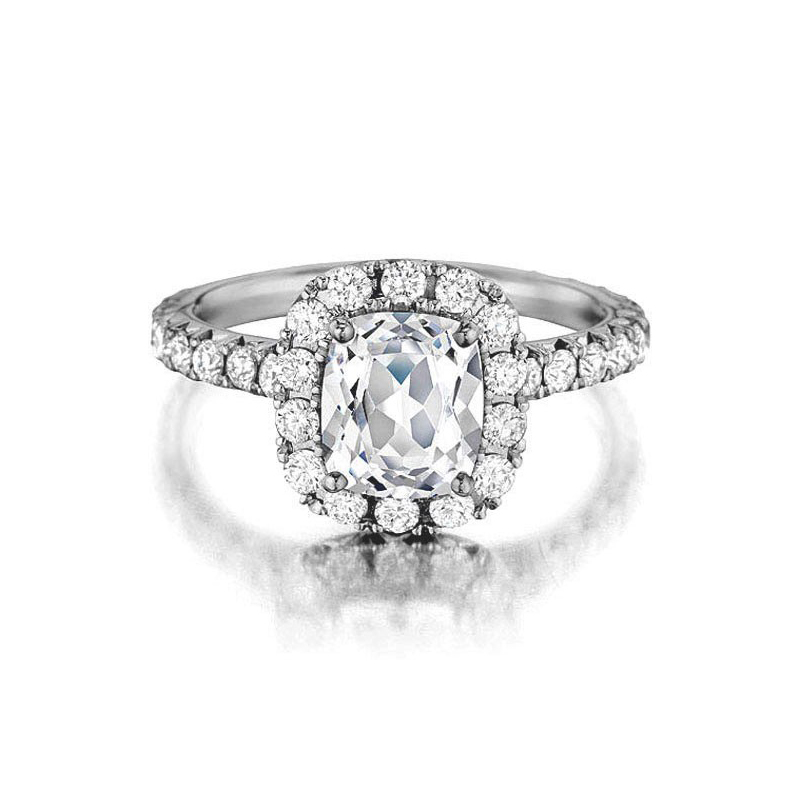 Henry Daussi 18 Karat White Gold Cushion Cut, Pave Set Diamond Ring
