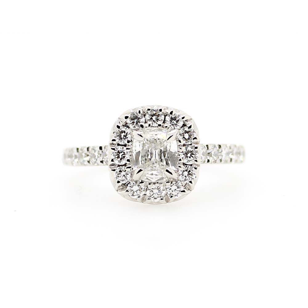 Henry Daussi 18 Karat White Gold Cushion Cut Diamond Ring